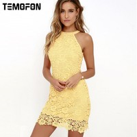 TEMOFON Sexy Women Dress Pencil Bodycon Summer Dress Solid Sleeveless Party Dresses Women Above Knee Mini