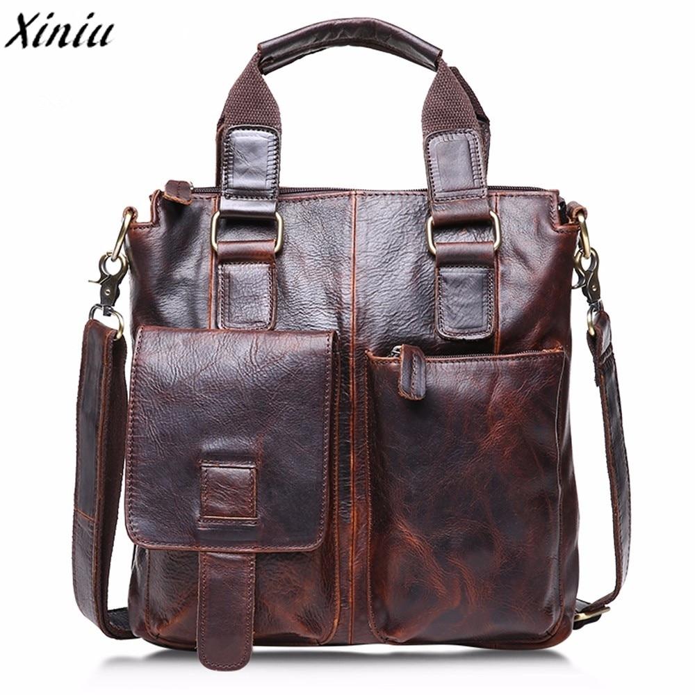 Tote Bag Vintage Buffalo Leather Messenger Satchel Bag Qualited Laptop Briefcase Men's Crazy Handbag Bolsas De Ombro #*7601
