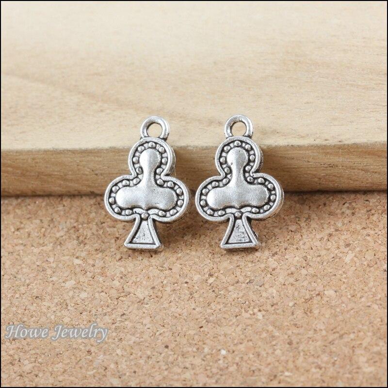 16  pcs   Poker spades  Antique silver alloy Pendant european Style jewelry findings B187