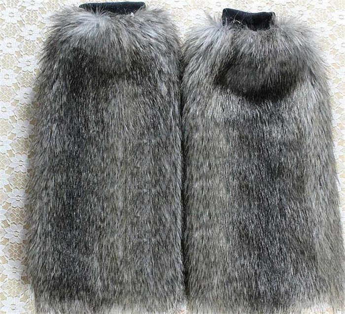 Модные женские зимние теплые гетры на искусственном меху, 40 см, сапоги с закрытой пяткой, мягкий подогреватель голеностопного сустава