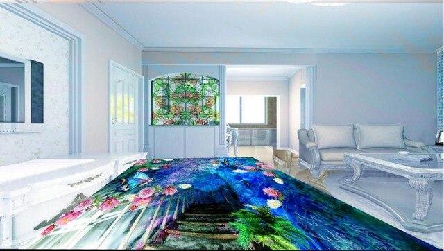 3d personalizzato pavimento romantico fiori pavimento 3d carta da