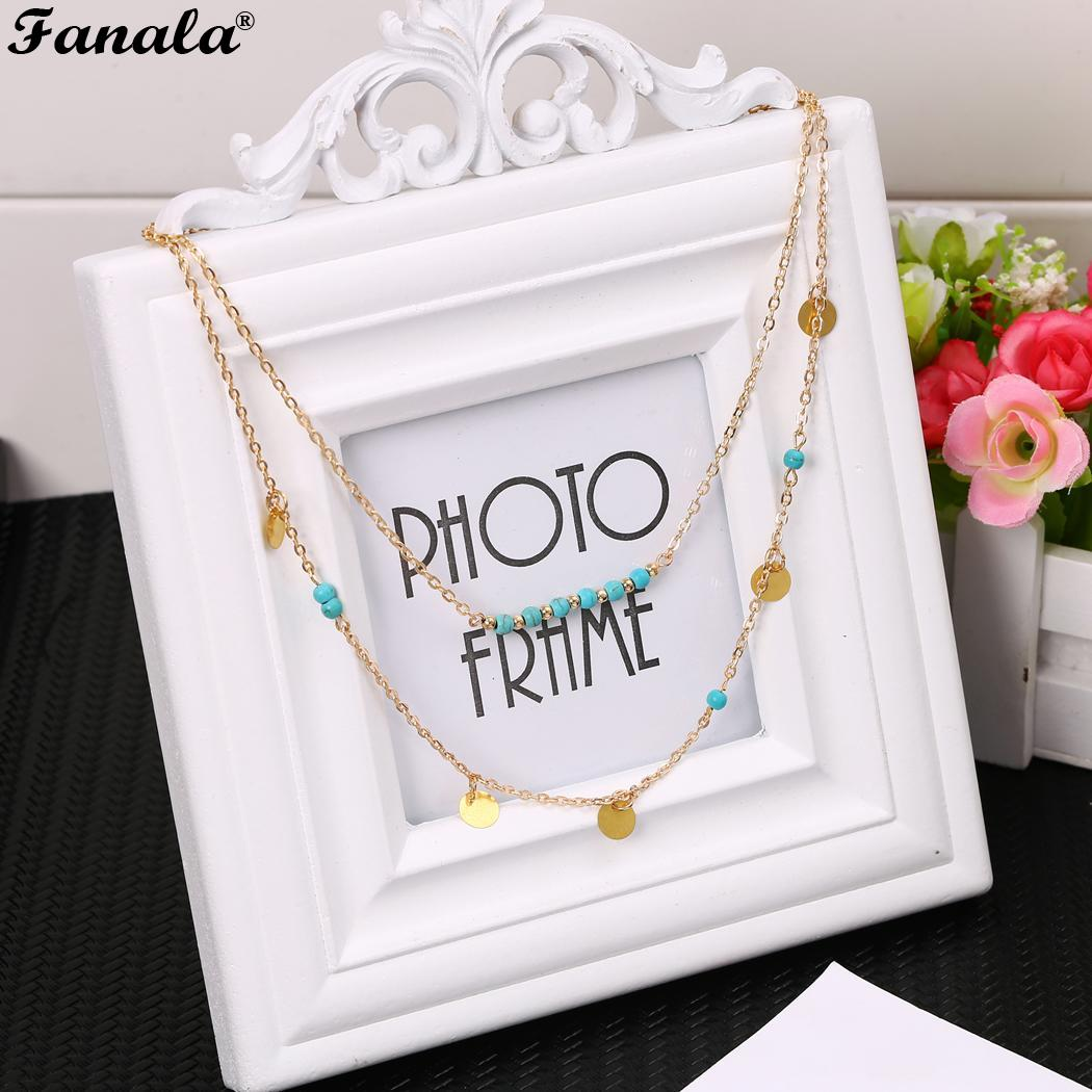 Pendant Multilayered Women Necklace Chain Luxurious Elegent Crystal Wedding Concise Jewelry