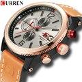 Модные мужские часы с ремешком из натуральной кожи  кварцевые наручные часы CURREN 2018  повседневные спортивные водонепроницаемые часы 99 футов