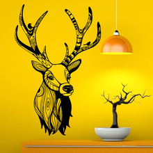 Hot Deer Head Art Design Wall Sticker Popular Home Decor Decal Waterproof Removable Mural Y-714