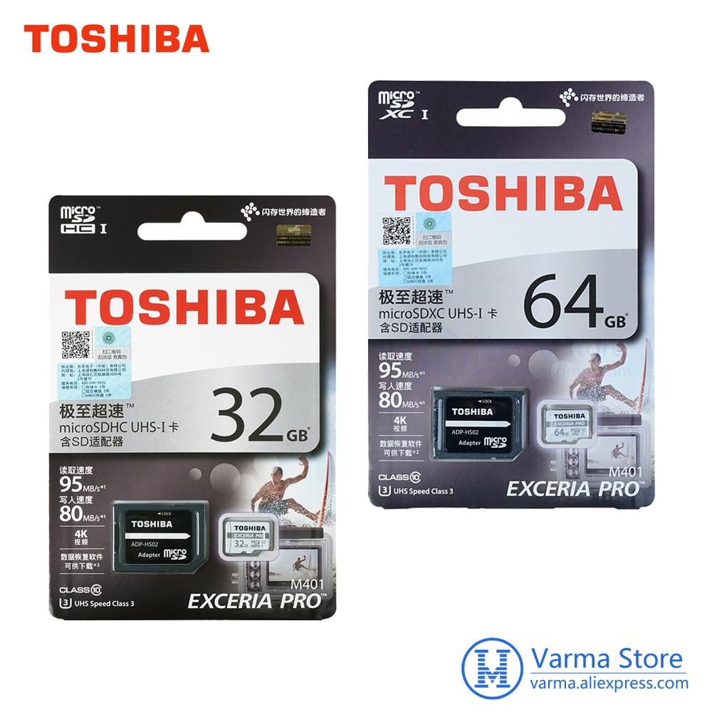 Toshiba EXCERIA PRO tf card M401 micro SD flash card tf memory card UHS-3 32GB 64GB U3 Class10 4K UltraHD microSDHC microSDXC