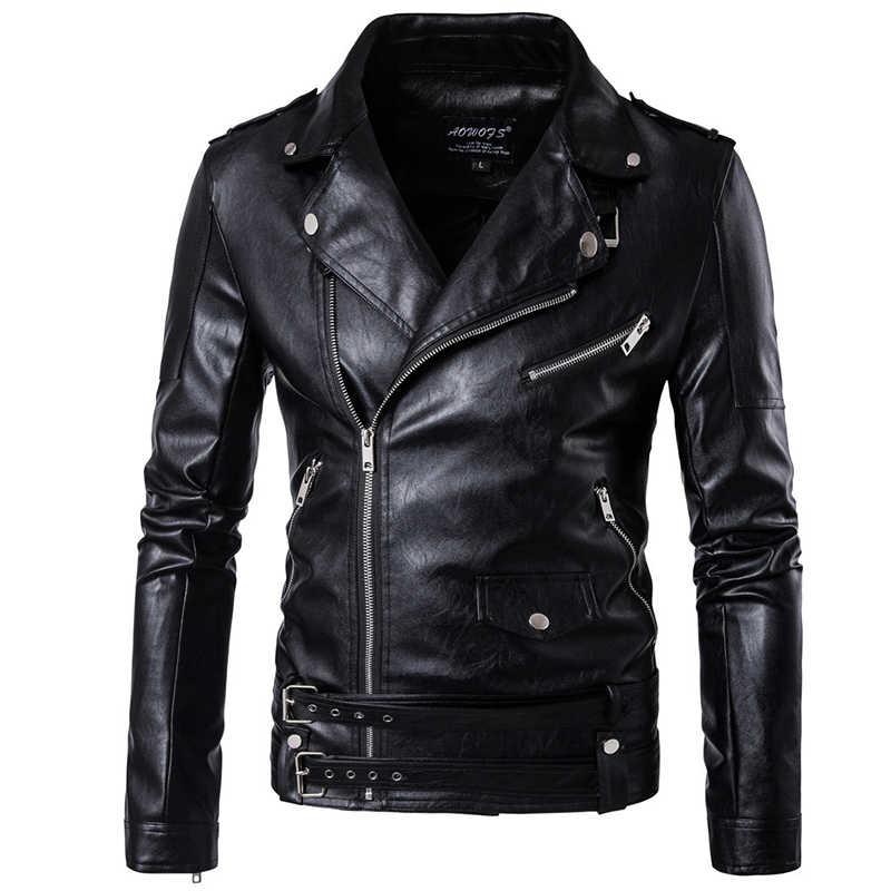 afb57089af5 ... Плюс размеры для мужчин мотоциклетная кожаная куртка Верхняя одежда на  молнии ремень черный мужской из мягкой ...