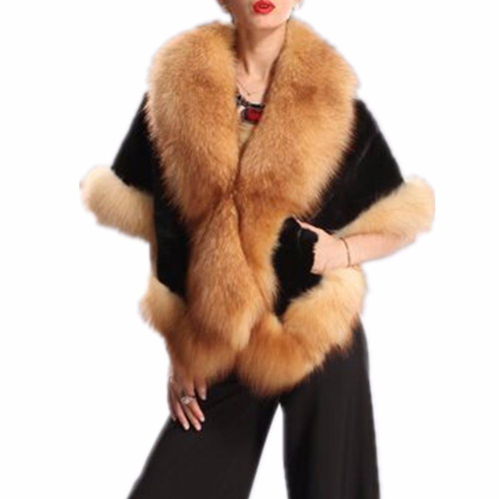Lisa Colly 2017 New Fashion Faux Fox Fur Coat Imitation Mink Fur Shawl Female Faux Fur Cape