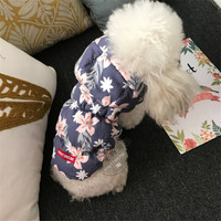 Fancy Winter Dog Clothes Coat Jacket Hawaii Aloha Pet Dog Clothes Cotton Padded Warm Pet Jacket