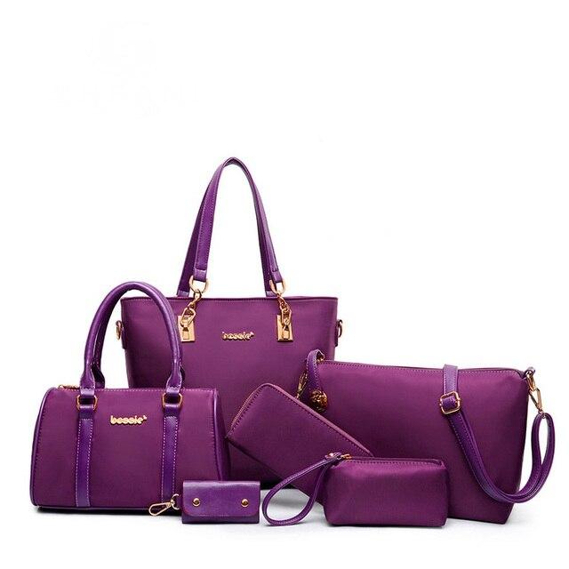 6c37d98c1e3b 6PCS Women s Set Handbags +Purses+Wallets And Key Bags Nylon Composite Bag  For Ladies