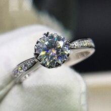 925 סטרלינג כסף 1ct 2ct 3ct בחיתוך עגול מבריק טבעת יהלומי Moissanite לב בצורת טבעת אירוסין תכשיטי יום נישואים
