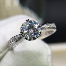 925 argent sterling 1ct 2ct 3ct anneau rond taille brillant diamant Moissanite en forme de coeur bague de fiançailles bijoux anniversaire