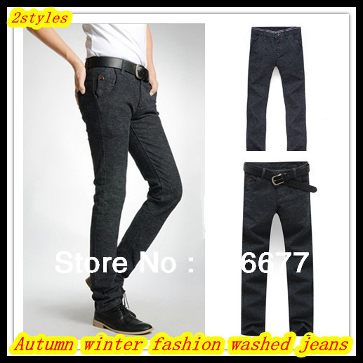 ФОТО Free Shipping Autumn winter men's cotton brushed plus size all-match dark grey washed denim jeans/trouser QR-2478