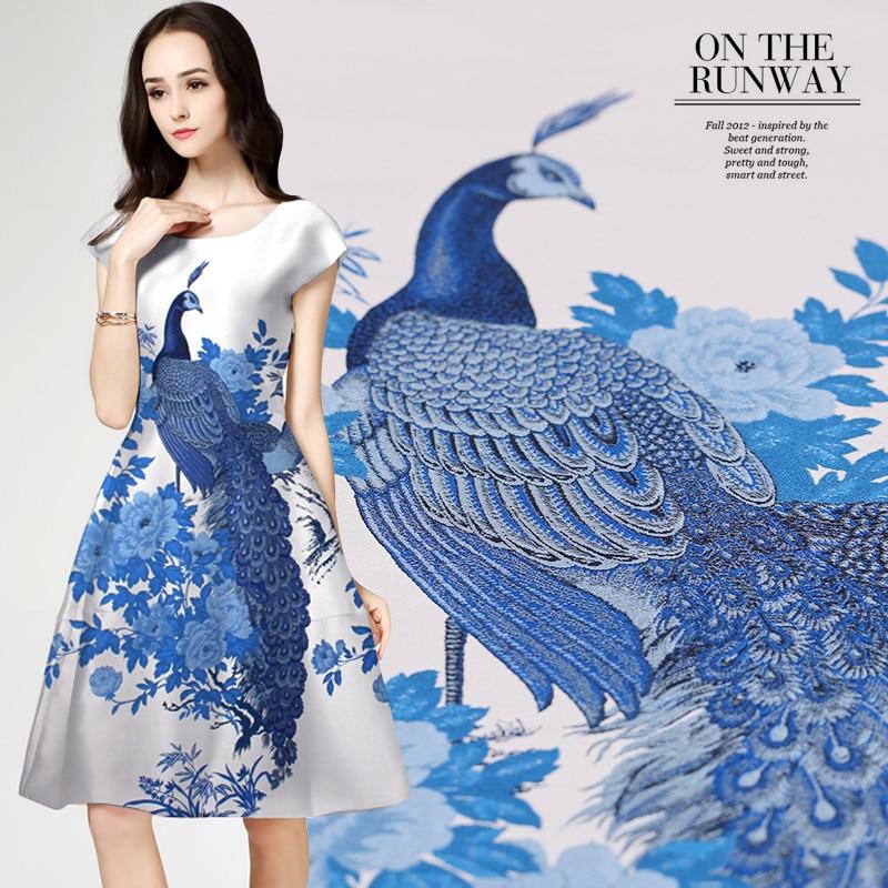 120 * 145cm / st 2016 Frankrike importerade jacquard tavlor satin mode tyg för klänning cheongsam tissu au meter ljus tyg DIY