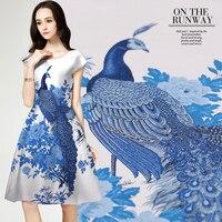 120*145cm/pcs 2016 France imported jacquard tapestry satin fashion fabric for dress cheongsam tissu au meter bright cloth DIY