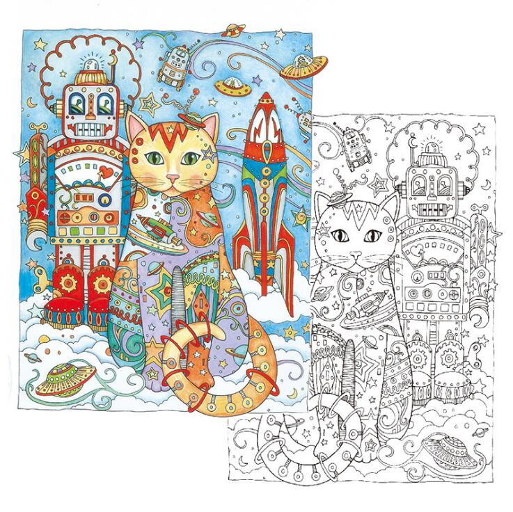 1 PC Creative Cats Coloring Book 24 Pages 18521cm Antistress Secret Garden Series Relieve Stress Painting Drawing Art Books In From Office School