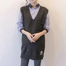 Вязаный жилет для беременных с v-образным вырезом, длинный свитер для беременных, свободная одежда для беременных