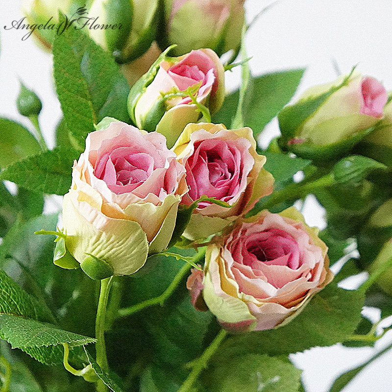 4 Heads 70cm Artificial Rose Branch Elena Rose Buds Decorative Flores Artificiales DIY Wedding Home Soft Photography Deciration