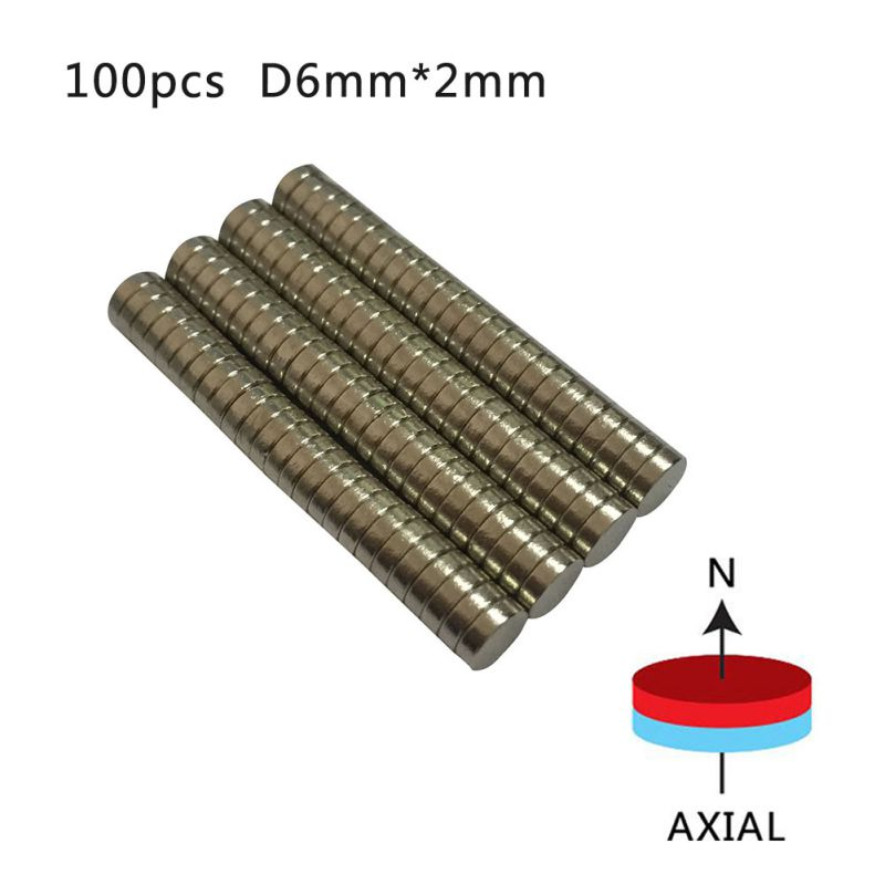 N50 6mm x 2mm Neodymium Magnets Strong Rare Earth NdFeB Magnet Craft Model Disc 100 Pieces/pack arrival 8pc 50 25 12 5mm craft model powerful strong rare earth ndfeb magnet neo neodymium n50 magnets 50 x 25 12 5 mm