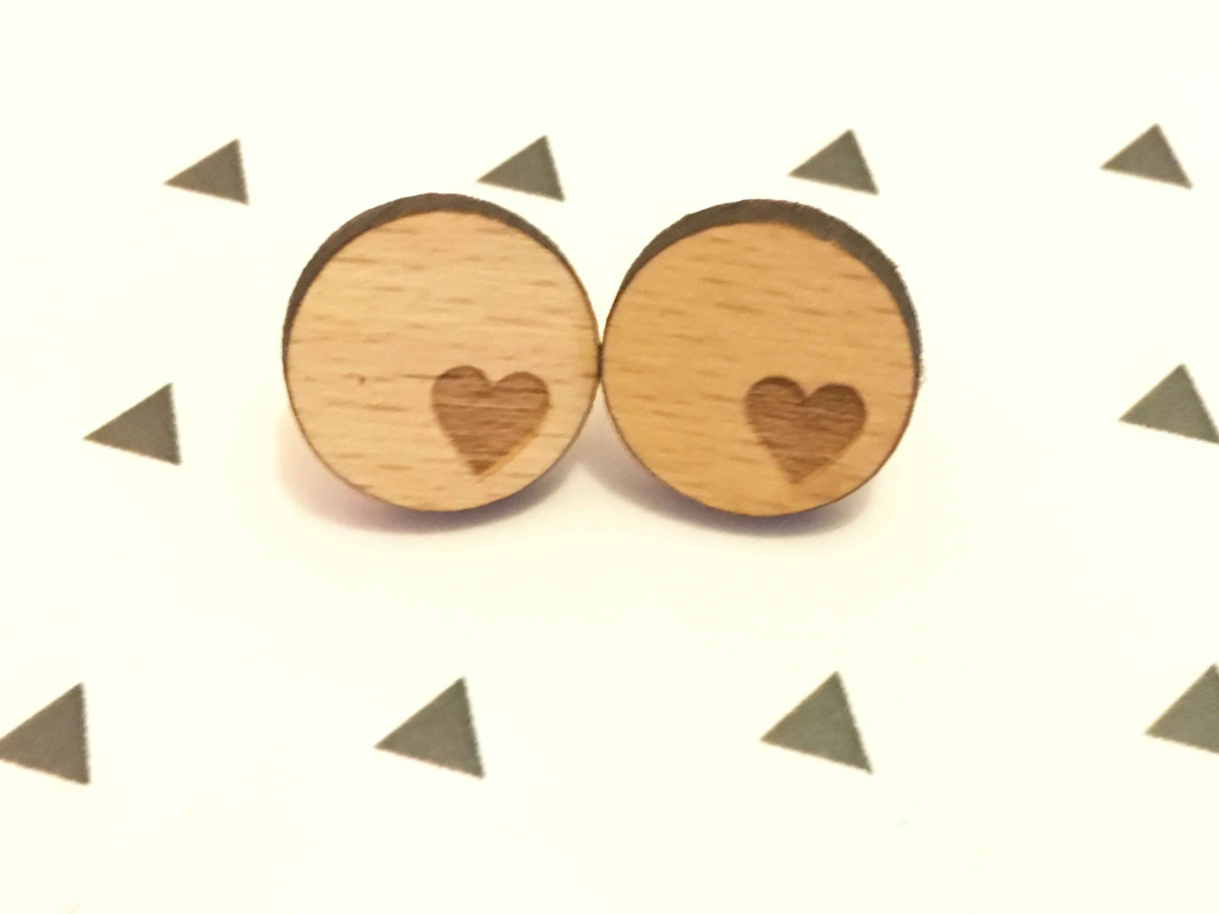Laser Cut Supplies Heart Earrings Solid Wood Handmade And Round Shape Stud Love Wooden Earring X 1 Pair In From Jewelry Accessories On