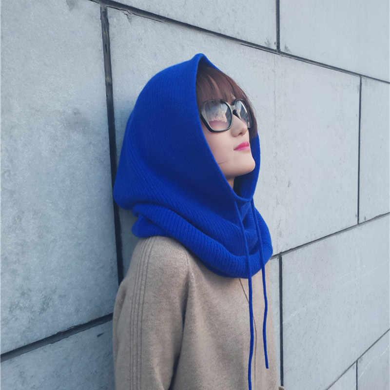 Zocept 2019 女性の多機能スカーフ帽子カシミヤウール混紡ニットさえネック帽子冬ソフトウォーム無地ヘッドキャップ