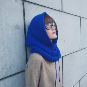 Image 4 - Zocept 여성 다기능 스카프 모자 캐시미어 울 혼합 니트 목 모자 겨울 부드러운 따뜻한 솔리드 컬러 머리 모자