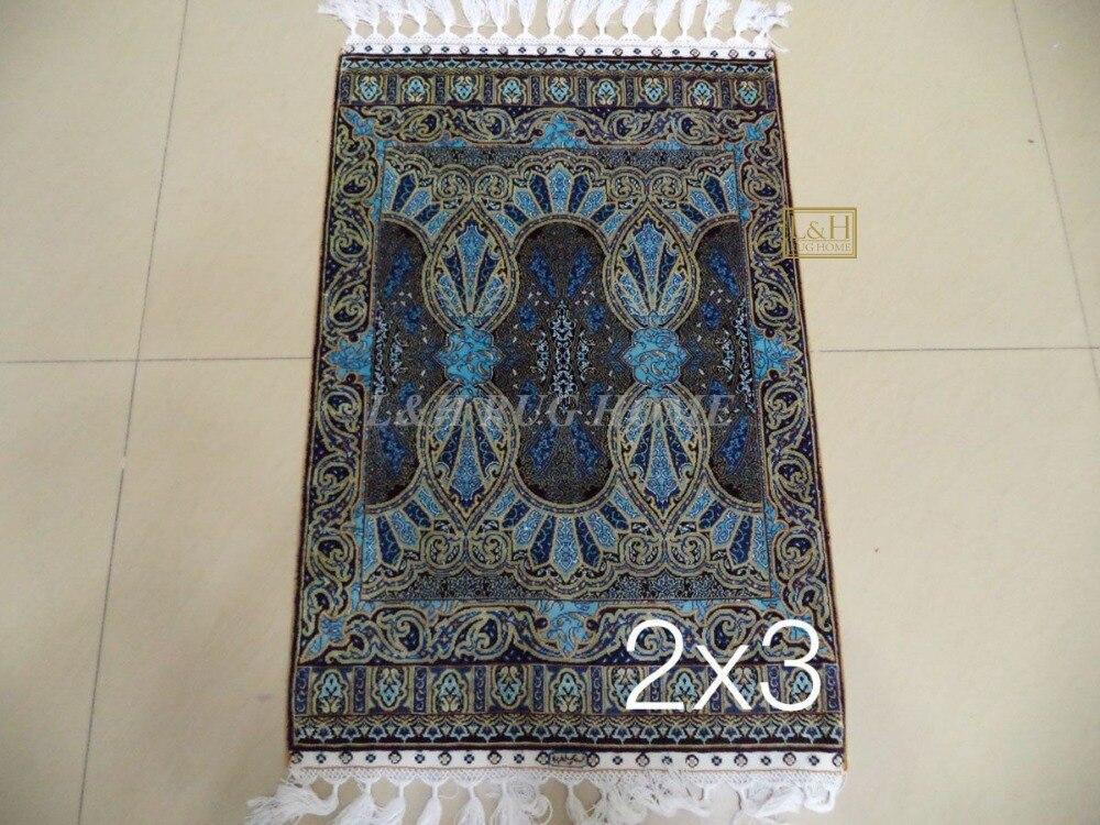 Livraison gratuite 2'x3 '230 ligne fait à la main en soie Oriental persan tapis noué à la main en soie tapis pour la décoration de la maison
