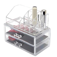 Excellent Cosmetic Organizer Two Layer Drawers Acrylic Desk Makeup Storage Box Rangement Maquillage