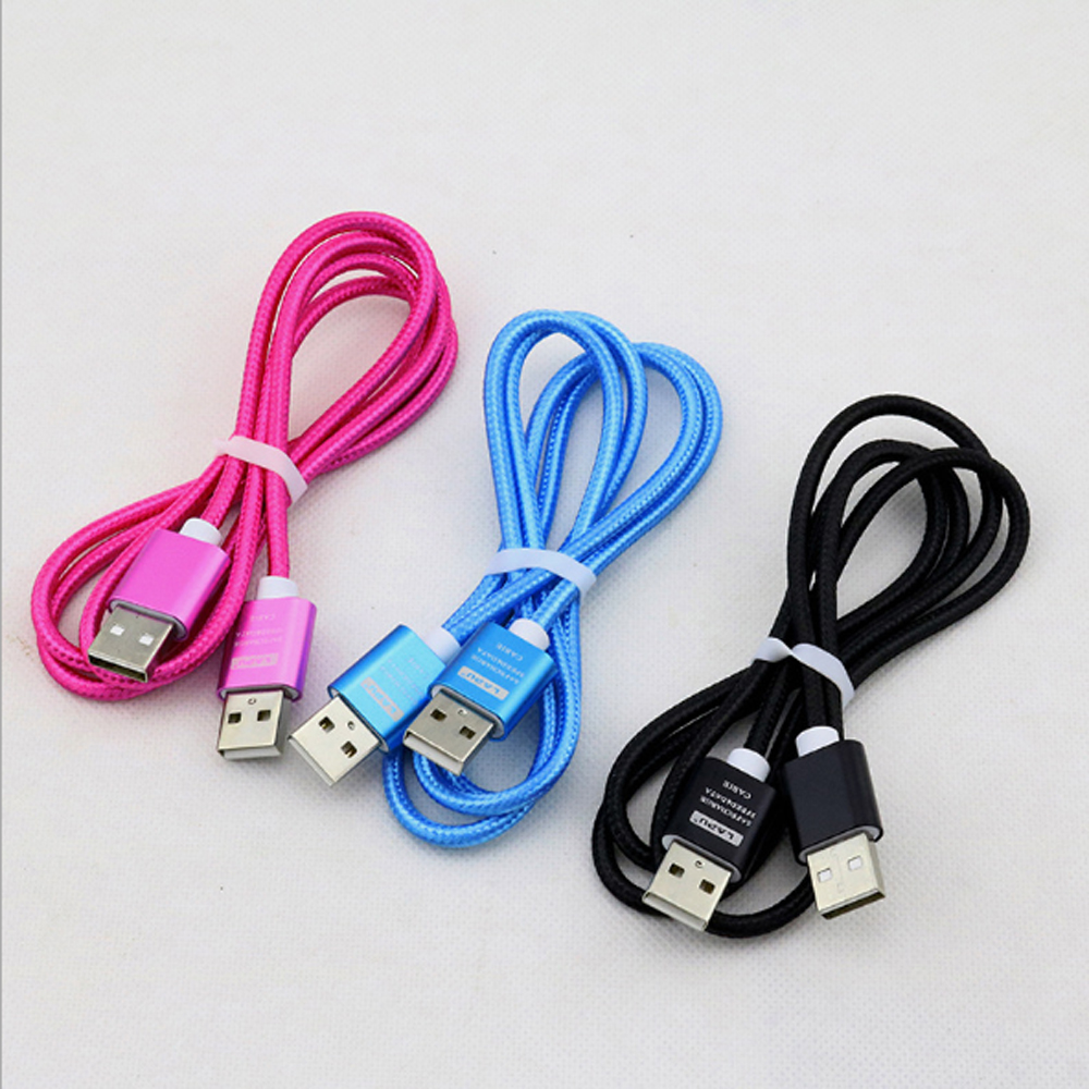100pcs Nylon weaving USB to USB Cable Male to Male Extension Cable for Radiator Hard Disk Computer Camera USB 2 0 Extender in Mobile Phone Cables from Cellphones Telecommunications
