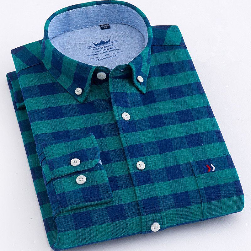 Cotton 100% Men's Shirts Tops New Design Super High Quality Oxford Men's Shirt Long Sleeve Shirt Slim 5XL Casual Shirt Men Plaid