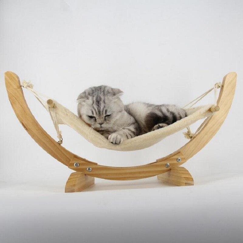 42bfef343 Madera natural hecho a mano Cama de Gato hamaca Cunas Esterillas swing cama  del perro cachorro manta cama del animal doméstico productos para mascotas  gato ...