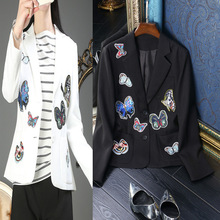 HIGH QUALITY New Fashion 2017 Runway Style Women's Buttons Butterfly Embridery Outerwear Black/White Jacket Suit