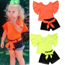 2019 New Summer Kids Clothing Toddler Girls Clothes Set Fluorescent Solid Ruffle Sleeve Tops Jeans Cotton Girl Children Set 1-6Y недорого