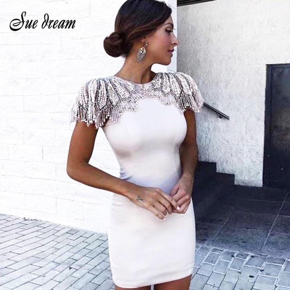 Nouveau Bandage rouge Soirée 2018 Mode De En Noir Mini kaki blanc Perles Embelli Celebrity bleu Robe Sexy Blanc Gros Femmes Piste Robes xdWCoerB