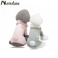 Nunubee Cute Fleece Stripe Thicker Dog Jumpsuits Pet Dog Cat Puppy Fur Collar Warm Winter Sweater Hoodie Clothes S M L XL XXL