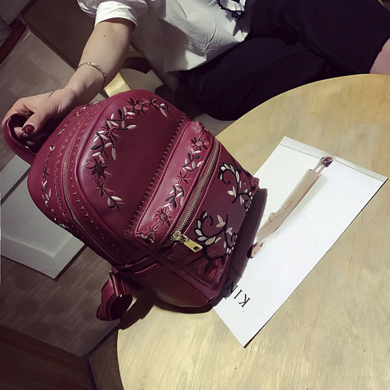 floral mochila mochilas de couro Color : Black/burgundy/pink