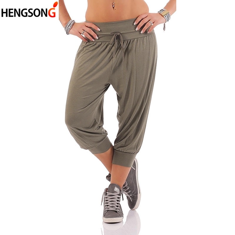 Women Befree  loose Lace pants Plus Size casual harem pants solid calf length trousers