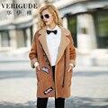 Veri Gude Women Faux Fur Winter Coat Synthetic Faux Lamb Fur Liner Long Suede Overcoat High Quality