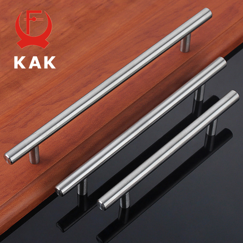 KAK 4 ~ 24'' Stainless Steel Handles Diameter 10mm Kitchen Door Cabinet T Bar Straight Handle Pull Knobs Furniture Hardware entrance door handle solid wood pull handles pa 377 l300mm for entry front wooden doors