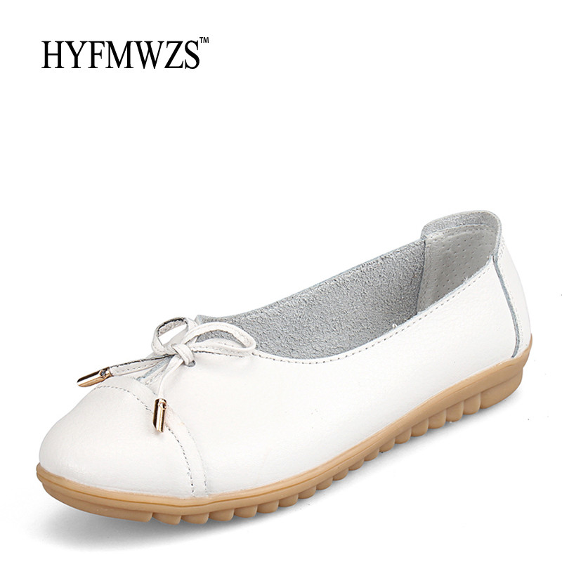 HYFMWZS Soft And Breathable Flat Shoes Women Slip-On Non-Slip Leather Shoes Woman Comfortable Lace Up Ballet Flats Zapatos Mujer hyfmwzs soft and breathable flat shoes women slip on non slip leather shoes woman comfortable lace up ballet flats zapatos mujer
