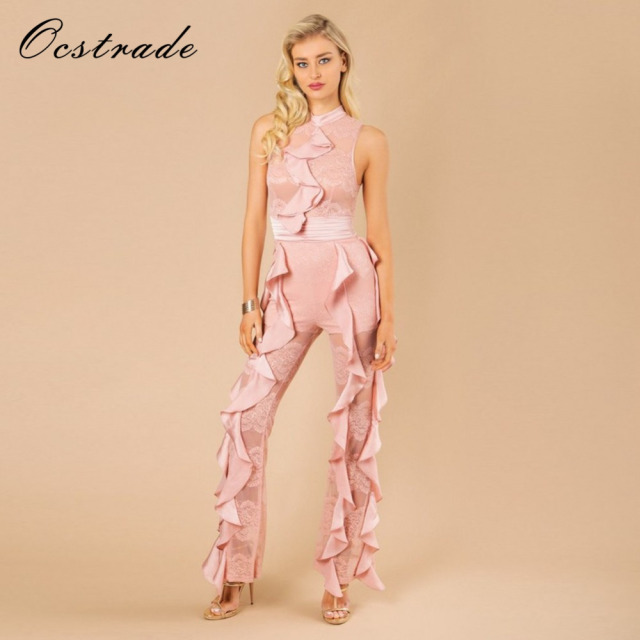 Ocstrade Runway Fashion Designers 2017 Black Sleeveless Lace and Ruffle Fashion  Womens Elegant Pink Jumpsuit Bandage Bodycon 29e41cabca10