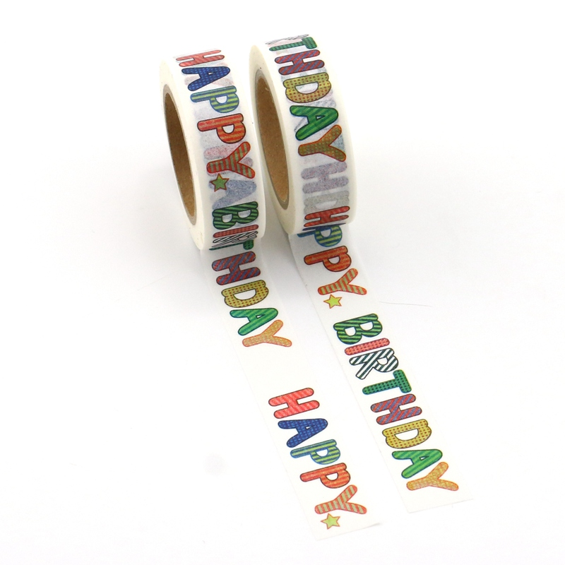 2PCS/lot NEW! Decor HAPPY BIRTHDAY Washi Tapes Mask Paper DIY Scrapbooking Adhesive Sticky Tape 1.5cm*10m School Office Supply