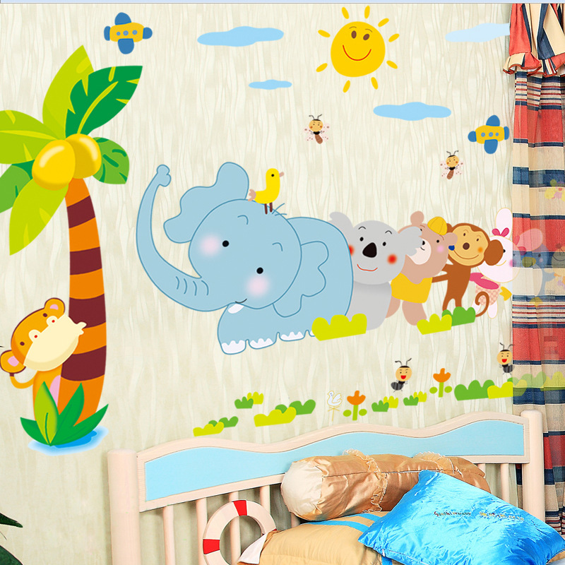 DIY Cartoon Animal Wall Sticker Tree Stickers Retro Poster Wallstickers for Kids Baby Rooms Bedroom Decoration Decal Decor Mural