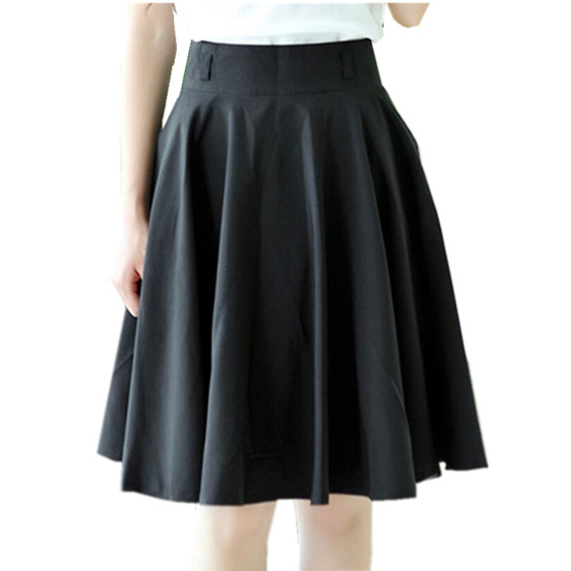 New 2019 Spring Summer Women Skirt Plus Size Midi Skirt Fashion High Waist Pleated Skirt Black White Skirts Women Saias