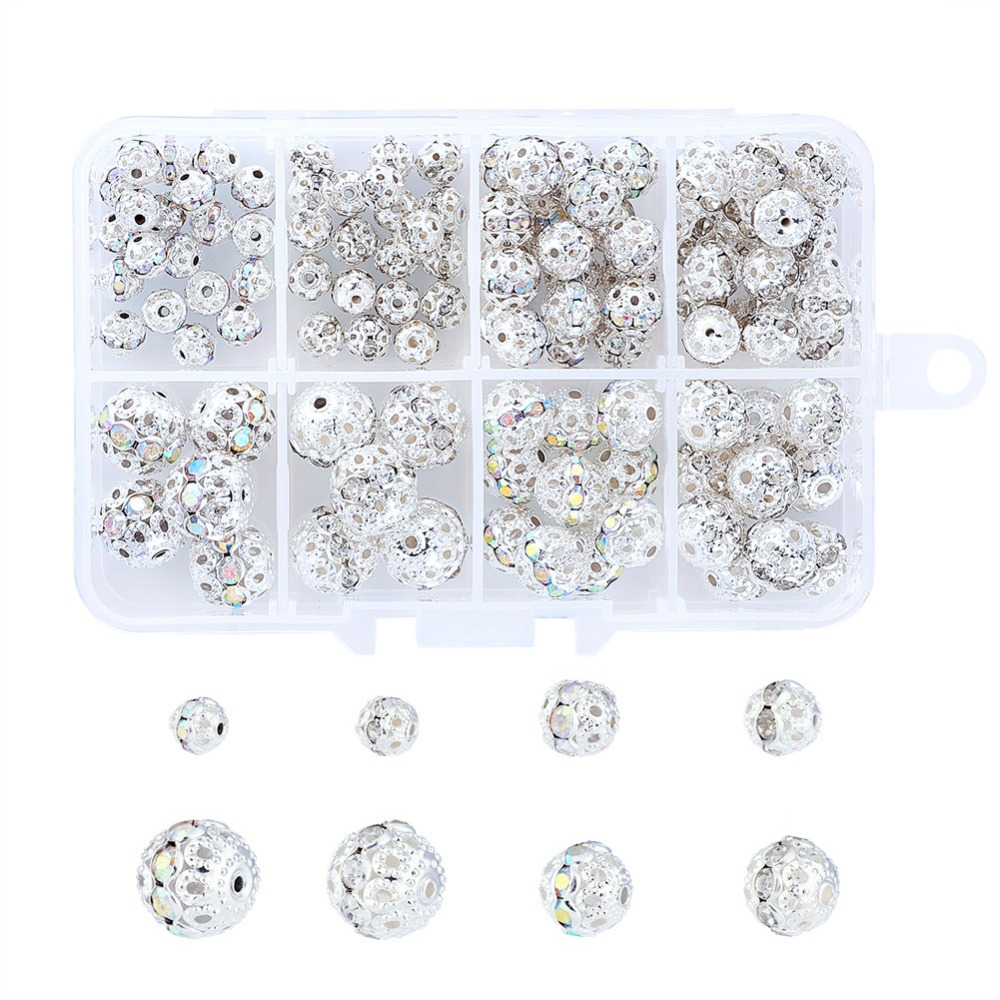 50PC Tibétain Alliage Strass Perles Européen Grand Trou Charms SILVER Craft 12 mm