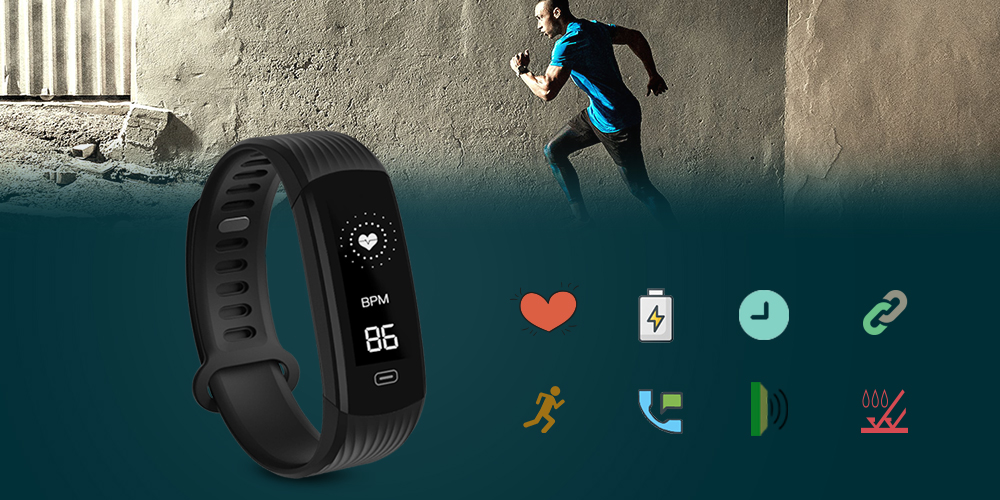 Smart Wristband Continuous Heart Rate Monitor Fitness Tracker