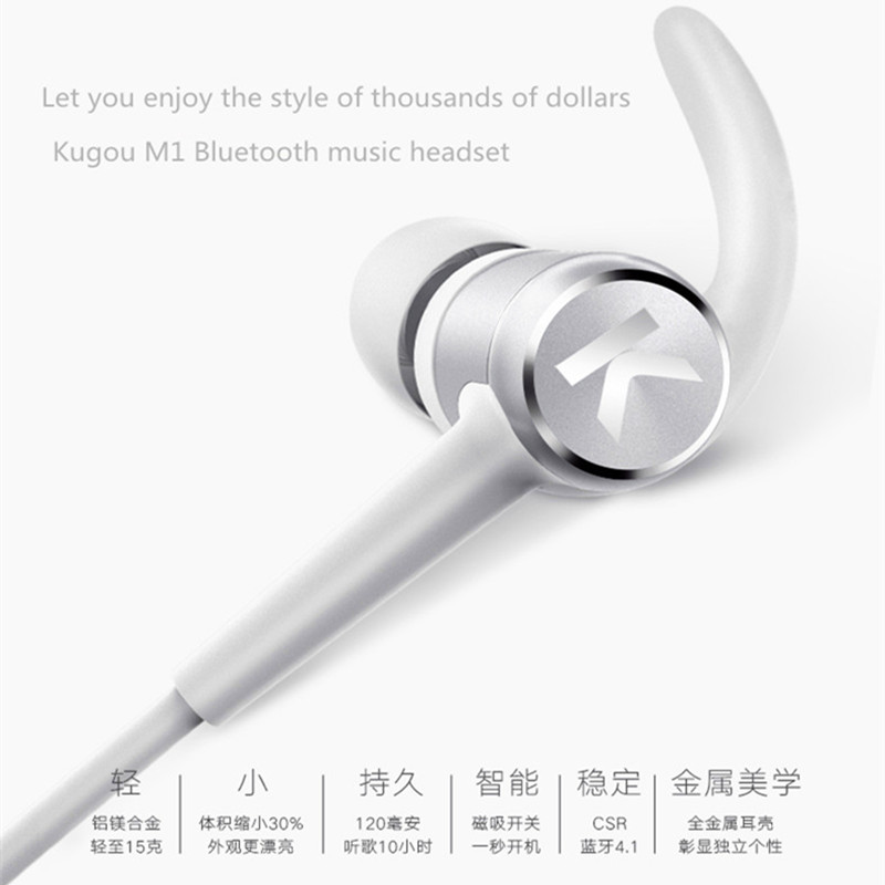 Original Kugou K1 Bluetooth Earphone Wireless Music Headset Magnetic suction design In-Ear Long Life Phone Universal Stereo