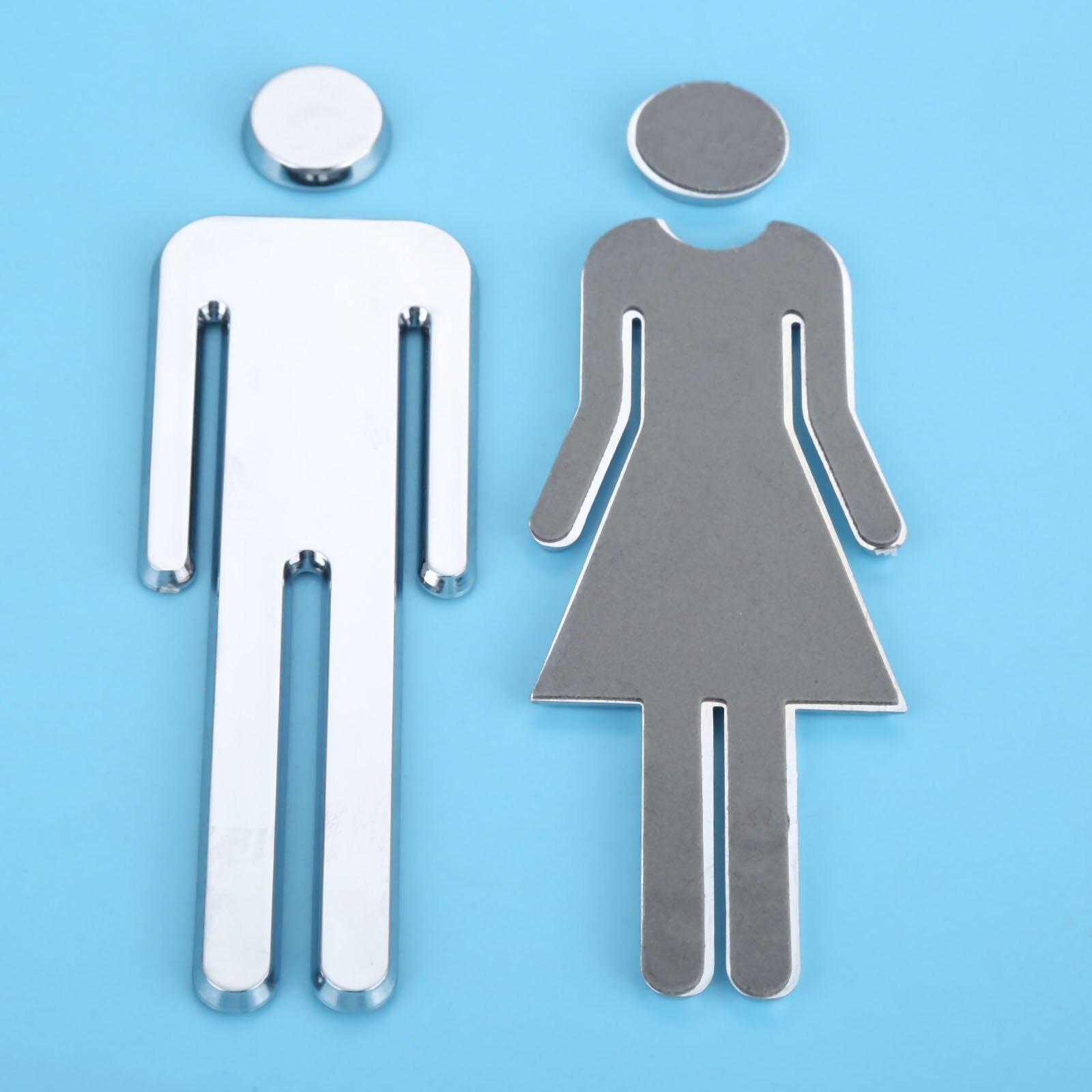 12cm Adhesive Women Men Toilet Sign Toilet Door Sticker 3D Mirror Surface WC Door Sign Sticker For Hotel Bar Restaurant in Door Plates from Home Improvement