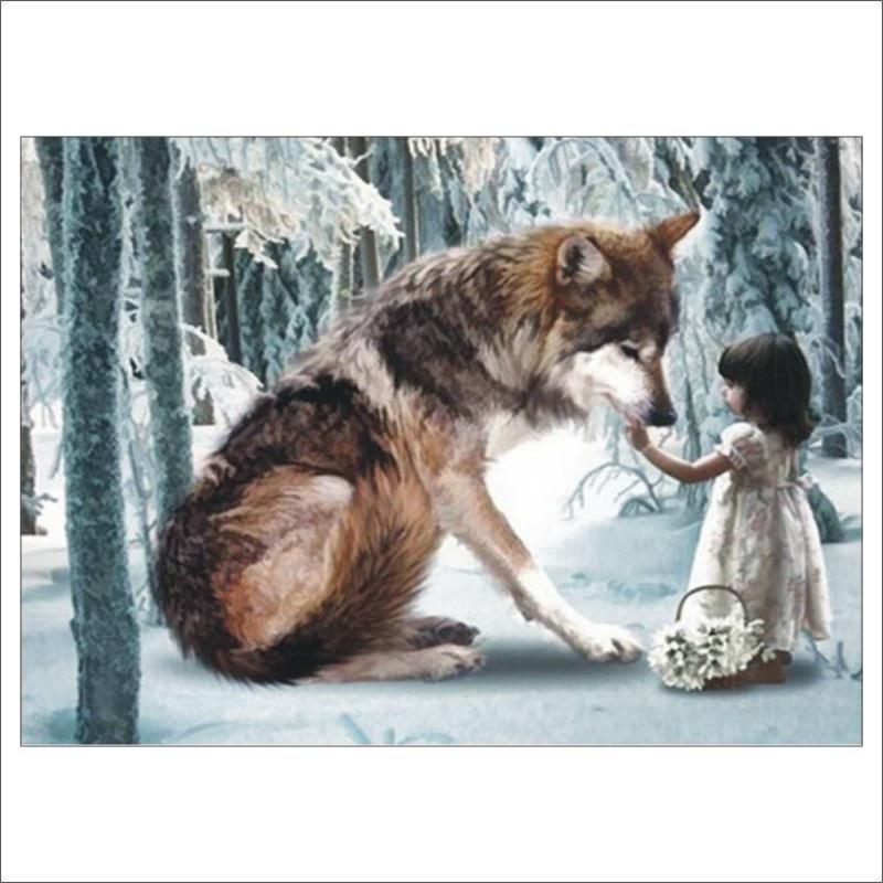 5D DIY diamond painting full wolf girl diamond embroidery sale cross stitch suit rhinestone mosaic garden decoration T026