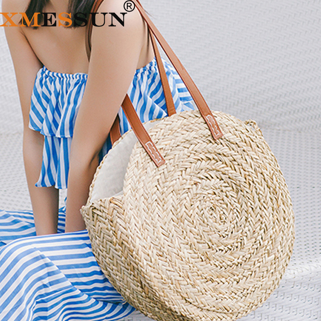 XMESSUN Round Straw Bags Moroccan Palm Basket Bag Women Hand Woven Beach Bag  Natural Oval Large Big Tote Circle Handbag Dropship 0207dac0057ec
