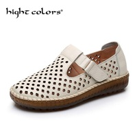 Summer new casual mother sandals genuine leather soft bottom hollow breathable ladies fat feet flat shoes non slip hole shoes
